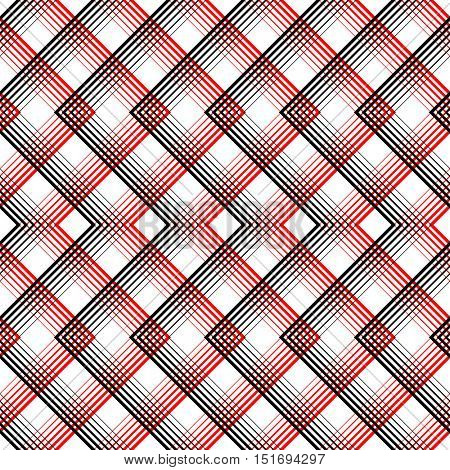 Seamless Tartan Pattern. Vector Black and Red Woven Background. British Plaid Ornament. Abstract Diagonal Thin Line Art Pattern. Wrapping Paper Checks Texture