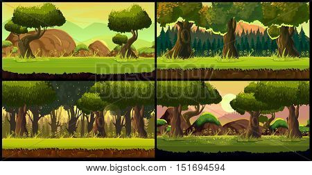 Forest Game background Vector set, Vector Illustration for your application , project.