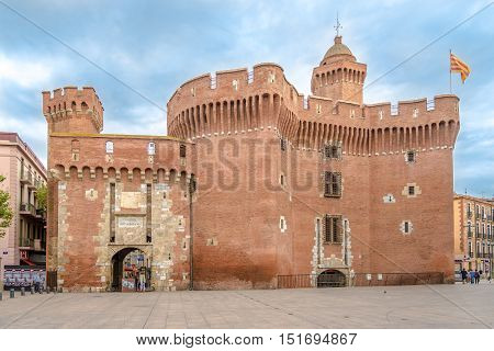PERPIGNAN,FRANCE - AUGUST 28,2016 - Historic building La Castillet in Perpignan. Perpignan is a city a commune and the capital of the Pyrenees Orientales department in south western France.
