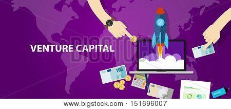 VC Venture Capital startup funding rocket launch money cash investor vector