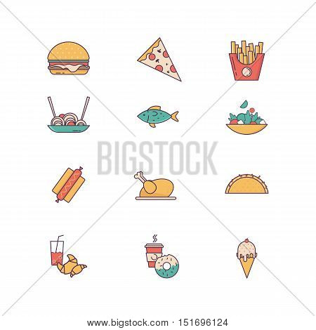 Line icons with flat design elements of food and beverages, cafe menu items, popular healthy and various fast-food culinary objects. Vector illustration.