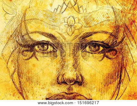 mystic woman drawing with ornament, eye contact. Sepia color and Computer collage