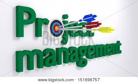 The word project management where the o is a target hit by three arrows textured with the words cost time and scope from the pm triangle business concept 3D illustration