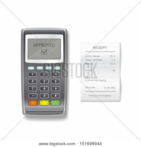 POS terminal and sales printed receipt. Vector payment terminal with financial check realistic illustration