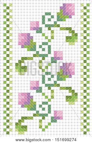 Embroidery on canvas cross stitch. Vector seamless ornament. Border from plants with buds and leaves. Pink and green colors of floss. Imitation canvas Aida.