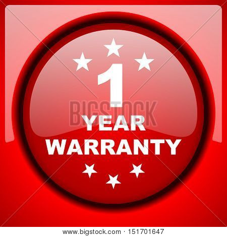 warranty guarantee 1 year red icon plastic glossy button