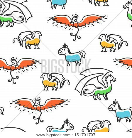 Seamless pattern with cute cartoon mythical beasts. Dragon, griffin, unicorn and phoenix. Vector illustration isolated on white