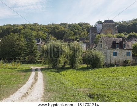 Historic abbey and medieval village in Aquitanie, France