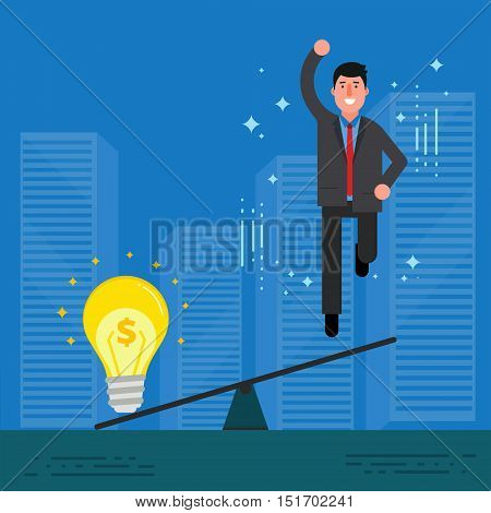 Young businessman or broker jumping after overweighting by light bulb. Startup or business idea concept. Innovation creative mind and perspective discovery image. Vector illustration