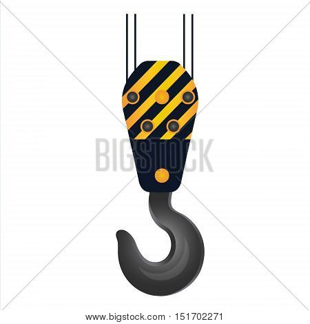 Crane lifting hook on wire rope icon. Hoist part for grabbing loads. Construction and heavy industry equipment. Vector illustration