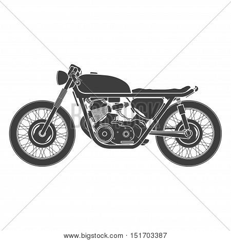 classic vintage motorcycle, cafe racer theme, isolated
