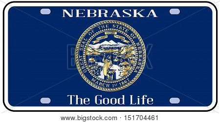 Nebraska state license plate in the colors of the state flag with the flag icons over a white background