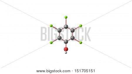 Pentachlorophenol or PCP is an organochlorine compound used as a pesticide and a disinfectant. 3d illustration of Pentachlorophenol. poster