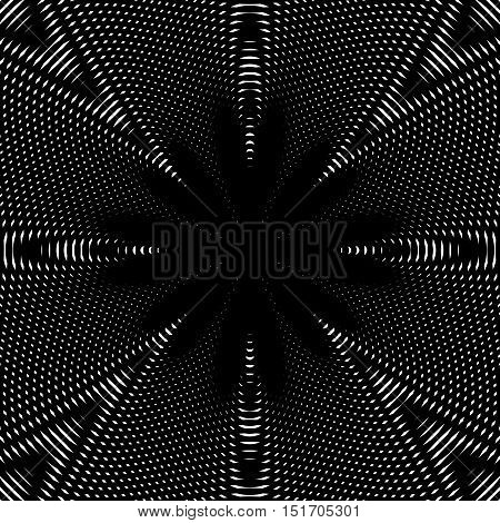 Black and white moire lines striped psychedelic background. Op art style vector contrast pattern.