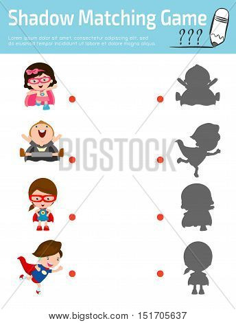 Shadow Matching Game for kids, Visual game for kid. Connect the dots picture,Education Vector Illustration.Superhero Children's, Superhero Kids. Kids With Superhero Costumes