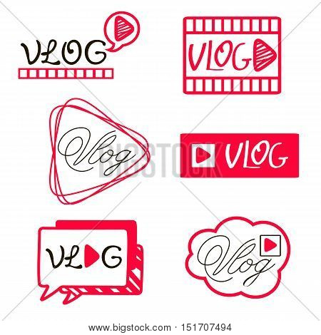 Vlog or video blogging video channel buttons set. Vector illustration.