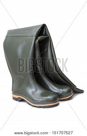 Long rubber boots for hunting and fishing isolated on white background