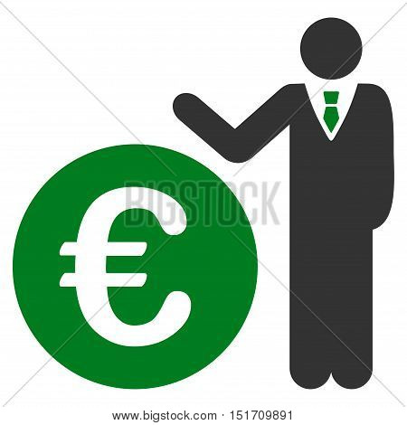 Euro Economist icon. Vector style is bicolor flat iconic symbol, green and gray colors, white background.