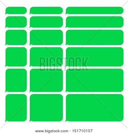 Green Smartphone SMS Chat Blank Bubbles Set. Vector Illustration