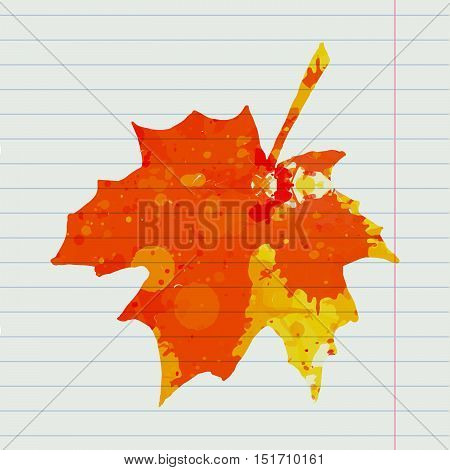 Bright orange watercolor autumn maple leaf over lined notebook page.