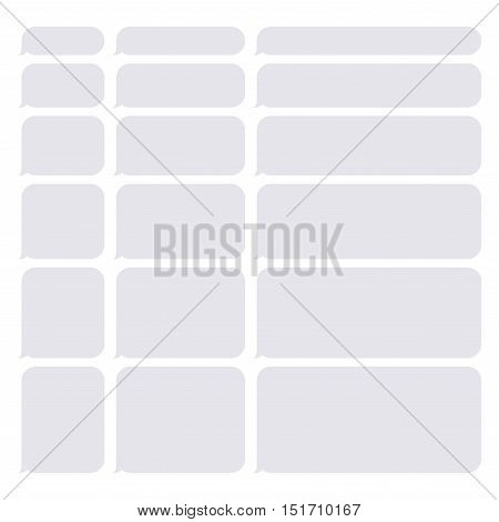 Gray Smartphone SMS Chat Blank Bubbles Set. Vector Illustration