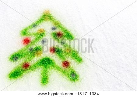 Colorful Christmas Tree, Sprayed In The Snow