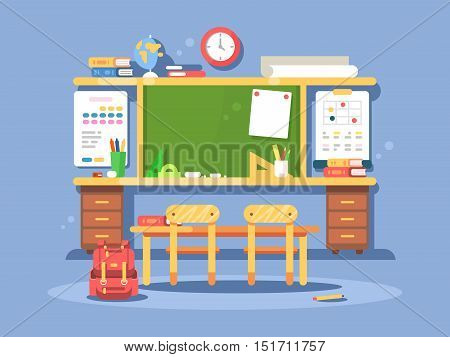 Classroom interior design. Empty room with blackboard and desks. Vector illustration