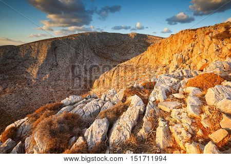 Mountains with steep cliffs on Folegandros islands.