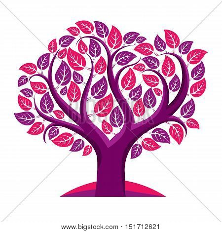 Art vector illustration of tree with purple leaves spring season can be used as symbol on ecology theme.