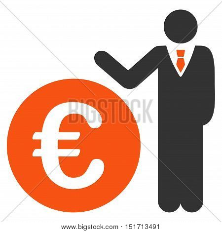 Euro Economist icon. Vector style is bicolor flat iconic symbol, orange and gray colors, white background.