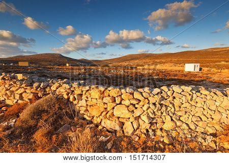 Rural landscape with some agricultural land on Folegandros islands.