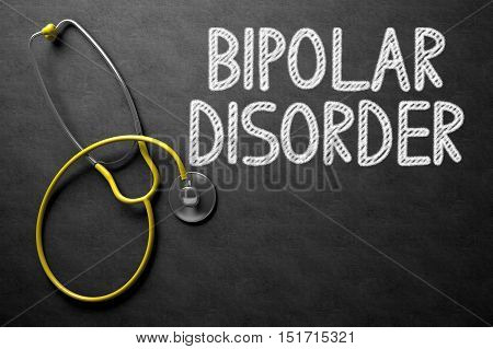 Black Chalkboard with Bipolar Disorder - Medical Concept. Medical Concept: Bipolar Disorder - Text on Black Chalkboard with Yellow Stethoscope. 3D Rendering.