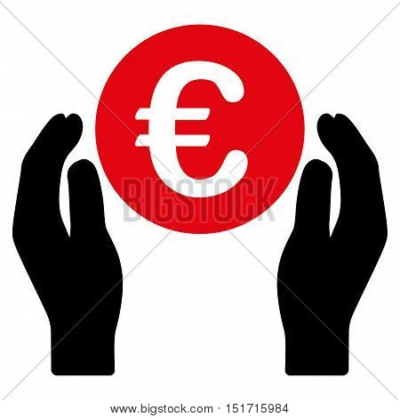 Euro Care Hands icon. Vector style is bicolor flat iconic symbol, intensive red and black colors, white background.