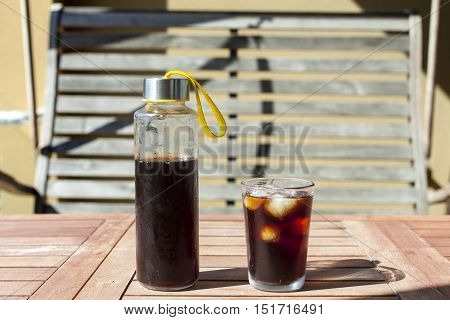 Ice cold brewed coffee on the table