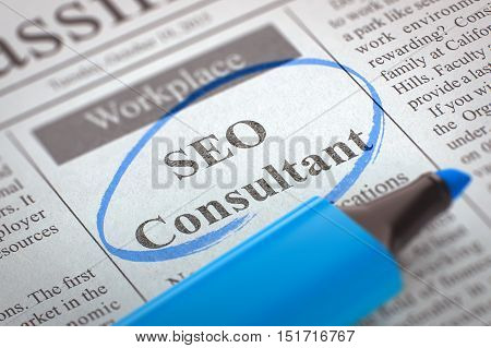 Newspaper with Small Ads of Job Search SEO Consultant. Blurred Image. Selective focus. Concept of Recruitment. 3D Render.