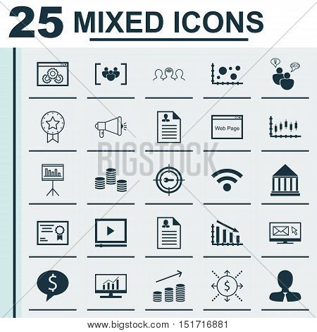 Set Of 25 Universal Icons On Newsletter, Money, Certificate And More Topics. Vector Icon Set Includi