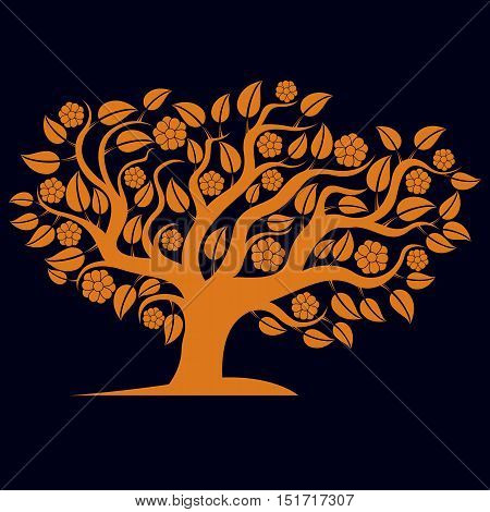 Vector illustration of spring branchy tree with beautiful blossom.
