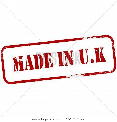 Rubber stamp with text made in UK inside vector illustration