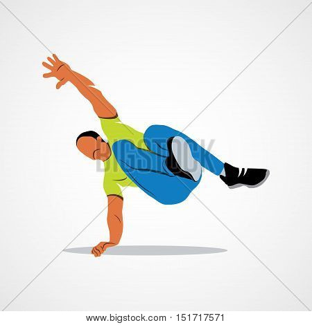 Abstract man jumping outdoor parkour on a white background. Vector illustration.