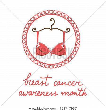 Breast cancer awareness month card with a bra and pink ribbon. Vector illustration
