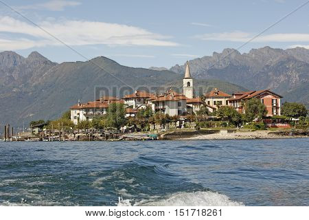 LAGO MAGGIORE, ITALY - SEPTEMBER 19: View on one of the islands Borromees - Isola dei Pescatori with its Hotel and famous restaurant Lago Maggiore Italy on September 19 2016