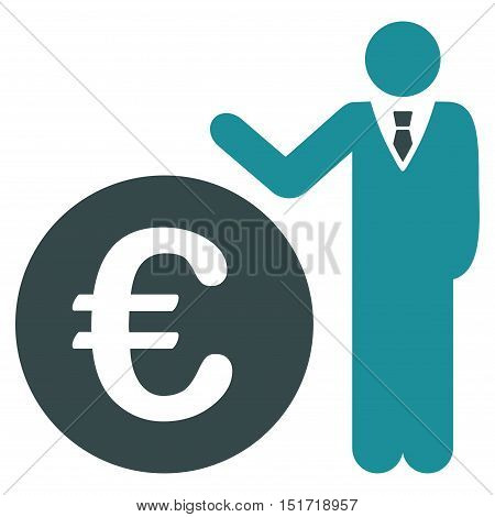 Euro Economist icon. Vector style is bicolor flat iconic symbol, soft blue colors, white background.