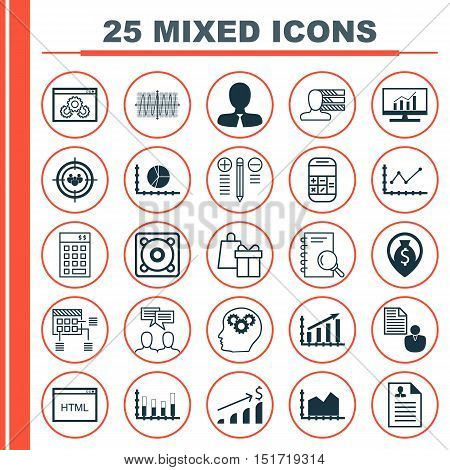 Set Of 25 Universal Icons On Segmented Bar Graph, Personal Skills, Shopping And More Topics. Vector