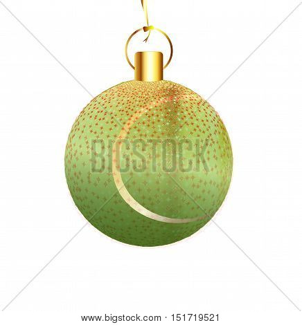 A gold and spakly Christmas tree tennis ball decoration