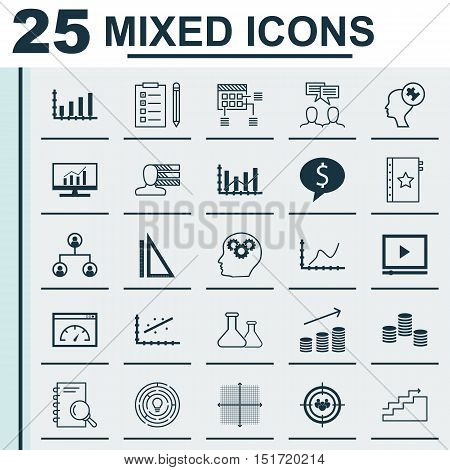 Set Of 25 Universal Icons On Graphical Grid, Discussion, Chemical And More Topics. Vector Icon Set I