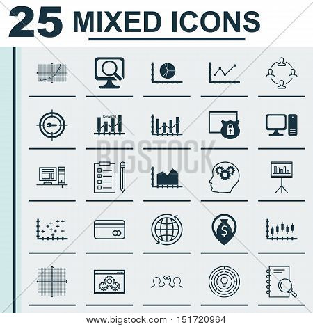 Set Of 25 Universal Icons On Presentation, Money Navigation, Stock Market And More Topics. Vector Ic