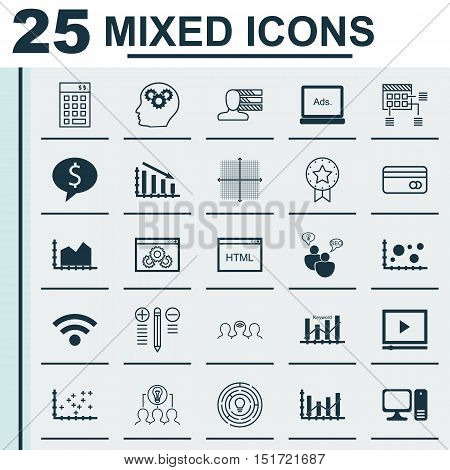 Set Of 25 Universal Icons On Keyword Optimisation, Coding, Digital Media And More Topics. Vector Ico