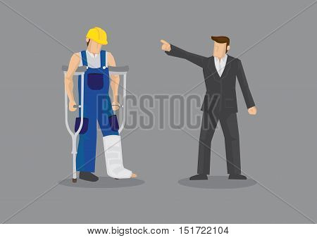 Cartoon man as employer pointing at dejected manual worker with crutch and leg cast. Vector illustration for concept on discrimination against injured worker isolated on grey background.