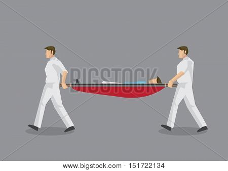 Two paramedic personnel carrying a stretcher with a man lying in it. Vector illustration on emergency medical services concept isolated on grey background.