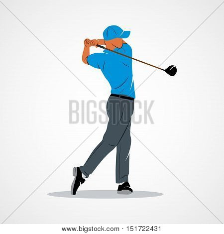 Abstract golf player kick the ball on a white background. Photo illustration.